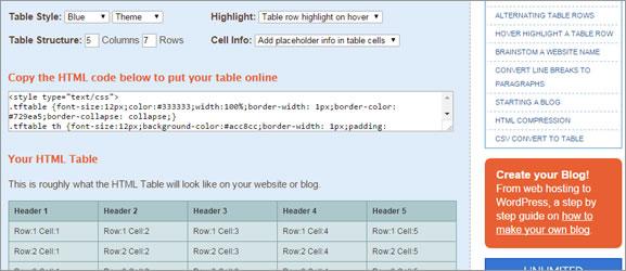 Criar tabela HTML online